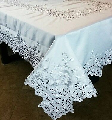 $65 • Buy 72x144  Rectangle Cutwork Embroidered Lace Tablecloth Napkin White Wedding Party