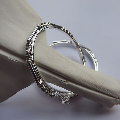 DIAMANTE SILVER COLOURED  HOOP EARRINGS 4cm New Gift Pouch • 1.99£