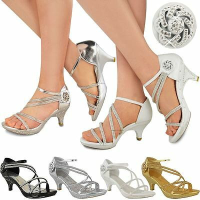 £14.99 • Buy Womens Ladies Low Heel Diamante Bridal Wedding Sandals Strappy Party Shoes Size