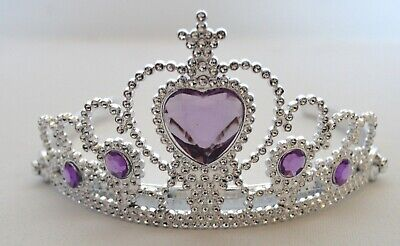 NEW Plastic Silver Childrens Purple Stone Tiara Hair Accessory Bling Party Prom  • 4.49£