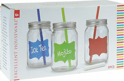 3 X 450ML Clear Glass Jam Jar Drinking Cocktail Summer Glass With Straw And Lid • 4.99£