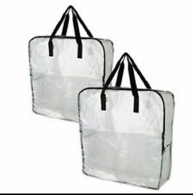 STRONG Large Clear/Transparent Plastic Zipped Storage Bags Saving Space By IKEA • 5.99£