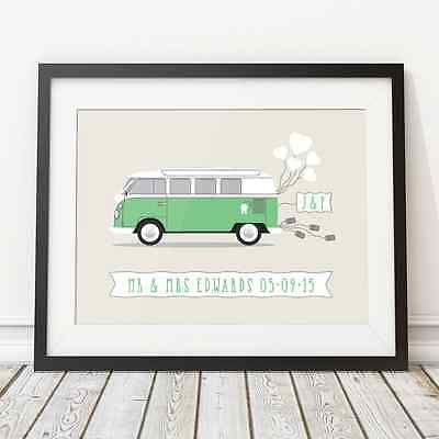 £8.49 • Buy Campervan Personalised Wedding Gift Print, Unique Custom Wedding Present Couple