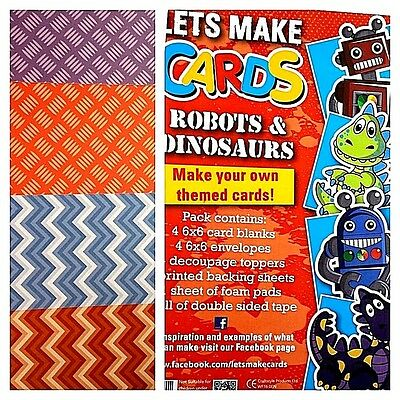 Complete Lets Make Cards Birthday Kit Childrens Cut & Create Decoupage Dinosaurs • 4.99£