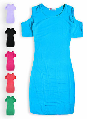 £6.99 • Buy Girls Midi Dress New Kids Cold Shoulder Bodycon Stretch Dresses Ages 5-13 Years