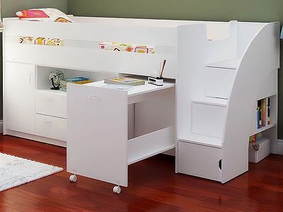 White Mid Sleeper Cabin Bed With Stairs Storage And Desk - New Kids Beds • 439£
