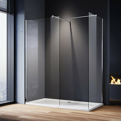 Large Frameless Walk In Shower Enclosures And Tray Screen Cubicle Glass Panel • 138.54£