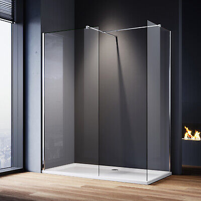 Large Frameless Walk In Shower Enclosures And Tray Screen Cubicle Glass Panel • 162.99£