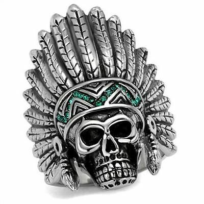 £8.51 • Buy Indian Chief  Head Dress Skull Stainless Steel Green Crystal Ring  US Seller
