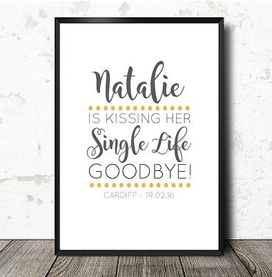 Hen Party Keepsake Game Accessories A4 Print Kissing Single Life Goodbye  • 3.99£