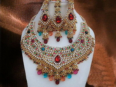 $32.99 • Buy Indian Bollywood Style Fashion Gold Plated Bridal Jewelry Necklace Set 9