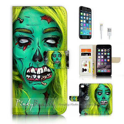 AU12.99 • Buy ( For IPhone 6 / 6S ) Wallet Case Cover P4029 Zombie Girl