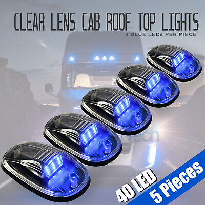 $29.99 • Buy 5pcs Clear LED Roof Top Truck SUV Cab Marker Running Clearance Lights Set Kit