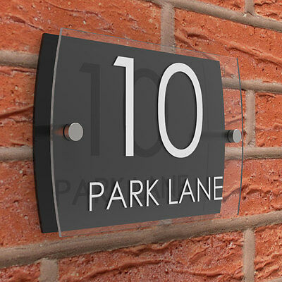 House Sign Number Plaques Clear & Black Acrylic Door Road Name  • 7.95£