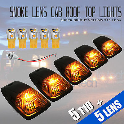 $34.99 • Buy 5pcs Smoked LED Roof Top Truck SUV Cab Marker Running Clearance Lights Set Kit