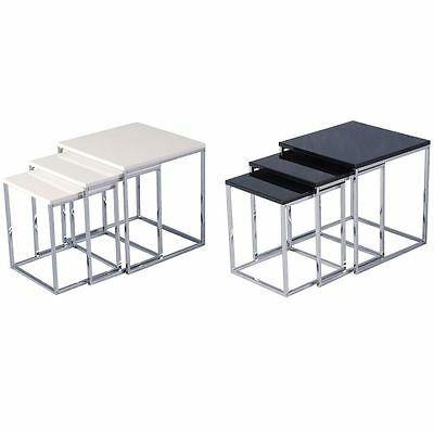 Aztec Nest Of 3 Tables Chrome Legs High Gloss Square Top New By Home Discount • 41.95£