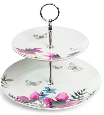 2 Tier Vintage Style Floral Themed Cake Stand Wedding Cupcake Stand • 17.99£