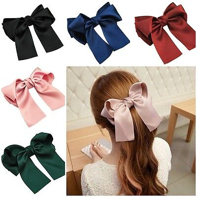 6  Satin Double Tail French Barrette Bow Hair Clip Pins Clips Girls/Ladies • 1.99£