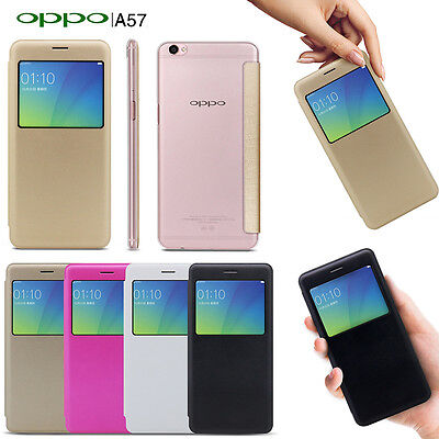 AU7.99 • Buy New Smart S-VIEW Flip Case Cover For Oppo A57 + Screen Protector