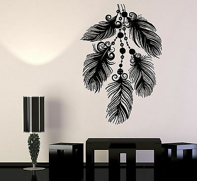 Vinyl Wall Decal Art Beautiful Feathers Ethnic Bedroom Decor Stickers (1293ig) • 54.14£