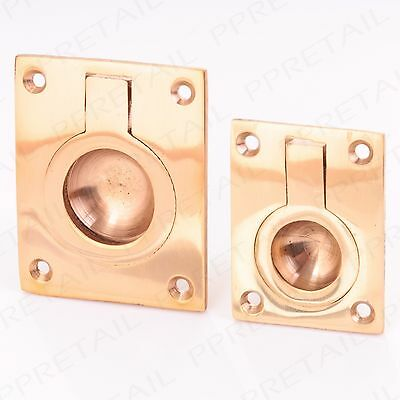 50mm SMALL SOLID BRASS FLUSH RING PULL HANDLES CABINET CUPBOARD 50MM X 63MM