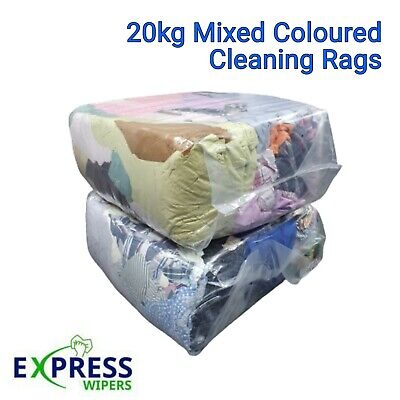£24.99 • Buy 20kg Bag Mixed Coloured Cleaning Rags / Wipers / General / Mixed Wiping Cloths