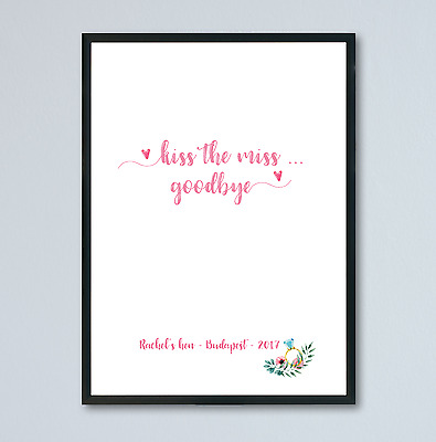 Kiss The Miss Goodbye - Hen Party Keepsake - Hen Party Games A4 - FREE P&P • 3.78£