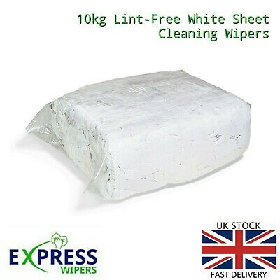 £24.99 • Buy 10kg White Cotton Sheet Lint-Free Industrial Cleaning Rags Wipers Wiping Cloths