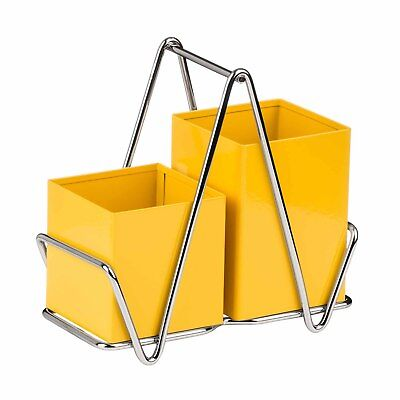 AU38.40 • Buy Premier Housewares Yellow Cutlery Caddy Metal Utensil Holder Drainer Storage
