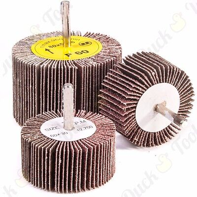 ABRASIVE FLAP WHEEL SANDING SETS 60-80mm DIAMETER Drill 6mm Shank GRIT 40-80 • 6.51£
