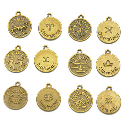 12pcs HOROSCOPE Zodiac STAR SIGN PENDANT CHARMS FOR JEWELRY MAKING FINDINGS • 2.76£