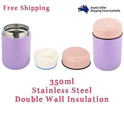 AU26.95 • Buy Stainless Steel Double Wall Insulated Thermos Food Jar Container Pink 350ml