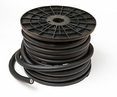 Black Cca 0 Awg Cable 5 Metres 0 Gauge Wire Includes Ferrules And Heatshrink • 29.99£