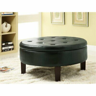 $228.18 • Buy Coaster Faux Leather Round Storage Ottoman In Dark Brown
