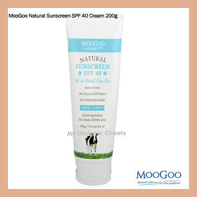AU55.99 • Buy MooGoo Natural Sunscreen SPF40 200g For All Ages From Babies To Adults MDC