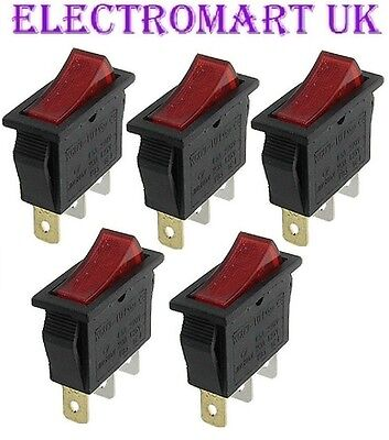 5 X Spst Illuminated Neon Red Rocker Switch On Off 10 Amp 250 Volt Ac • 4.95£