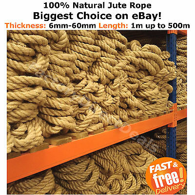 100% Natural Jute Hessian Rope Twine Decorative Cord Garden Decking Hand Rail  • 24.99£