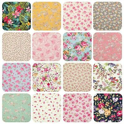 100% Cotton Poplin Fabric ROSE & HUBBLE VINTAGE FLORAL ROSES Craft Material • 3.99£
