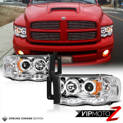 $123.40 • Buy For 02-05 Dodge Ram 1500 Chrome Halo LED Projector Headlight 03-05 Ram 2500 3500