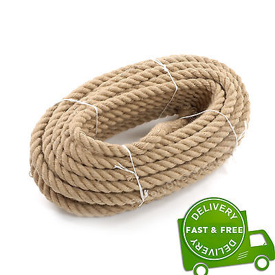 24mm Thick Heavy Duty Jute Twisted Rope Garden Decking Cord 1234567890 Fast&Free • 9.98£