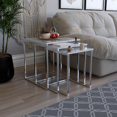 Aztec Nest Of Tables White Chrome Legs High Gloss Square Top By Home Discount • 41.95£
