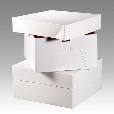 White Cake Boxes, Wedding Birthday Cake Box 16 Inch Cake Decorating Free Post • 7.19£