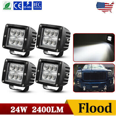 $30.99 • Buy 4x 3inch Cree LED Work Light Cube Pods Driving 24W Flood OffRoad Bumper SUV ATV
