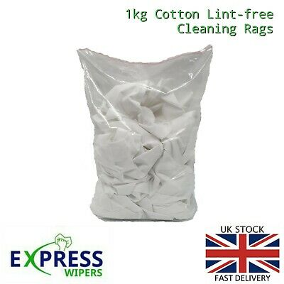 £7.99 • Buy 1kg Bag 100% Cotton Sheet Lint-Free Cleaning Rags / Wipers / Cloths (Bag Of Rag)
