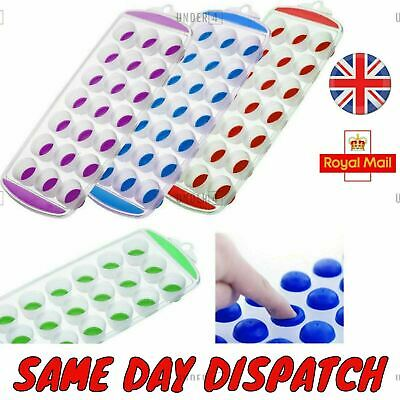 UK NEW HOT Ice Cube Tray Easy Pop Out Maker Plastic Silicone Top Mould 21 Jelly • 2.52£