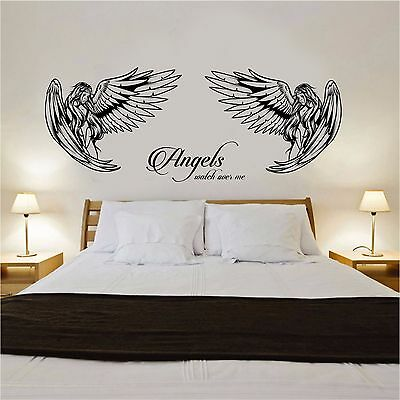 £14.99 • Buy Angel Wall Art Sticker With  Angels Watch Over Me  Quote Bedroom Lounge Wall Art
