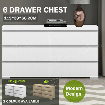 AU294.99 • Buy Tallboy Dresser 6 Chest Of Drawers High Gloss Table Cabinet Bedroom Storage