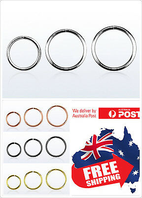 AU2.95 • Buy 925 Sterling Silver Seamless Hoop Ring 22g 20g 18g 16g Nose Ear Lip Piercing 1pc
