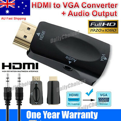 AU10.91 • Buy HDMI To VGA Female To Male Video Adapter Cable Converter With Audio HD 1080P