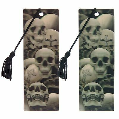 £2.98 • Buy 3D Bookmark Gothic Skulls 15cm High Blue Or Brown Tint With Tassel